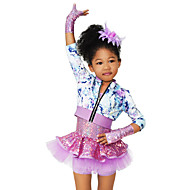cheap Dancewear & Dance Shoes-Kids' Dancewear Outfits Children's Stage Spandex Elastic Tulle Sequined Paillette Flower 3/4 Length Sleeves High Top Dress Sleeves
