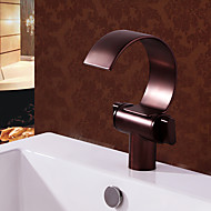 cheap Discount Faucets-Antique Centerset Waterfall Brass Valve Two Handles One Hole Oil-rubbed Bronze, Bathroom Sink Faucet