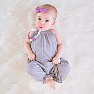 Baby Pige Simple / Vintage Daglig Ensfarvet Kort Ærme / Uden ærmer Bomuld / Hør / Bambus Fiber Overall og jumpsuit Lyserød