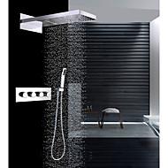 """olcso Luxus Kollekció-Kortárs Fali Zuhany """"eső""""szórófej Vízesés Kézi zuhanyzót tartalmaz Termosztatikus Kerámiaszelep Négy fogantyú három lyuk Króm, Zuhany"""