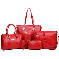 お買い得  バッグ-女性用 バッグ PU バッグセット 6個の財布セット ジッパー ベージュ / イエロー / フクシャ