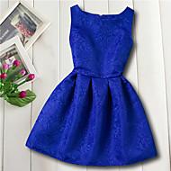 cheap -Kids Girls' Basic Daily Flower Jacquard Sleeveless Rayon Dress Red