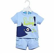 Dítě Chlapecké Bavlna Denní Jednobarevné Léto Sady oblečení, Krátké rukávy Na běžné nošení Světle modrá