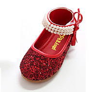 cheap Girls' Shoes-Girls' Shoes Canvas Spring Fall Flower Girl Shoes Novelty Comfort Flats Bowknot Pearl Magic Tape for Party & Evening Dress Silver Red