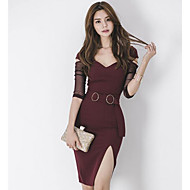Mulheres Tubinho Vestido Estampa Colorida Decote V