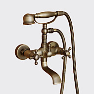 cheap Bathtub Faucets-Antique Tub And Shower Handshower Included Ceramic Valve Two Holes Two Handles Two Holes Antique Brass, Shower Faucet Bathtub Faucet