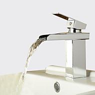Suvremena Središnje pozicionirane Waterfall Keramičke ventila One Hole Jedan Ručka jedna rupa Chrome, Kupaonica Sudoper pipa