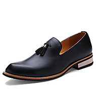 cheap Small Size Shoes-Men's Shoes Leather Spring Fall Loafers & Slip-Ons Tassel for Casual Office & Career Black Yellow Burgundy