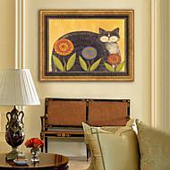 baratos Quadros com Moldura-Animais Floral/Botânico Ilustração Arte de Parede,Plástico Material com frame For Decoração para casa Arte Emoldurada Sala de Estar