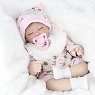 NPK DOLL Reborn-dukker Baby 18 inch Silikone / Vinyl - livagtige, Hånd Anvendte Øjenvipper, Tippede og forseglede negle Børne Pige Gave / CE / Naturlig hudfarve / Floppy Head