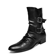 tanie Obuwie męskie-Męskie Fashion Boots Skórzany Wiosna Buciki Kozaki do połowy łydki Czarny