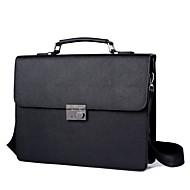 お買い得  ブリーフケース-メンズ バッグ PU ブリーフケース ボタン のために フォーマル オフィス&キャリア オールシーズン ブラック