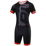 cheap -Malciklo Men's Short Sleeve Triathlon Tri Suit - Black Geometic British Bike Breathable Quick Dry Sports Coolmax® Lycra Geometic Clothing Apparel / High Elasticity / SBS Zipper