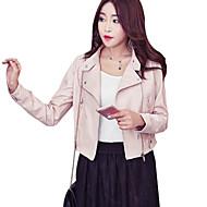 Mulheres Curto Jaquetas de Couro Diário Para Noite Simples Casual Inverno Outono, Sólido Poliuretano Colarinho Chinês