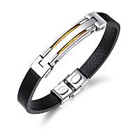 Herre Armbånd / ID armbånd - Læder Mode Armbånd Guld / Sort / Sølv Til Daglig / I-byen-tøj
