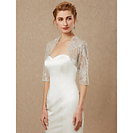 Half Sleeve Lace Wedding / Party / Evening Women's Wrap With Beading / Lace Shrugs
