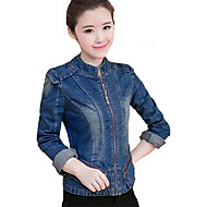 Women's Going out Simple Casual Denim Jacket-Solid Colored Stand