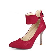 cheap Women's Heels-Women's Shoes Nubuck leather Spring Fall Comfort Ankle Strap Heels Stiletto Heel Pointed Toe Buckle for Wedding Party & Evening Black Red