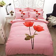 cheap Floral Duvet Covers-Duvet Cover Sets Floral 4 Piece Poly/Cotton 100% Cotton Reactive Print Poly/Cotton 100% Cotton 1pc Duvet Cover 2pcs Shams 1pc Flat Sheet