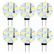 baratos Luzes LED de Dois Pinos-SENCART 6pcs 1.5W 60-80lm G4 Luminárias de LED  Duplo-Pin T 6 Contas LED SMD 5050 Decorativa Branco Quente / Branco 12V