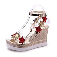 baratos Sandálias Femininas-Mulheres Sapatos Couro Ecológico Verão MaryJane Sandálias Salto Plataforma Dedo Aberto Lantejoulas para Casual Dourado Prata