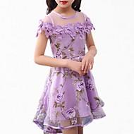 Dzieci Dla dziewczynek Prosty Podstawowy Codzienny Solidne kolory Krótki rękaw Bawełna Poliester Sukienka Niebieski / Śłodkie