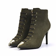 cheap Women's Boots-Women's Shoes Nubuck leather Fall / Winter Comfort / Bootie Boots Stiletto Heel Booties / Ankle Boots Black / Army Green / Red