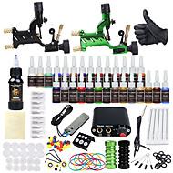 cheap Discount Tattoo Kits-Tattoo Machine Starter Kit 2 alloy machine liner & shader Mini power supply 2 x aluminum grip 20 pcs Tattoo Needles