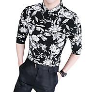 男性用 クラブ シャツ ストリートファッション スリム フラワー