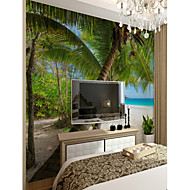billige Tapet-Trær / Blader Art Deco 3D Hjem Dekor Klassisk Moderne Tapetsering, Lerret Materiale selvklebende nødvendig Veggmaleri, Tapet