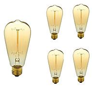 billige Glødelampe-5pcs 40W E26/E27 ST64 Varm hvit 2200-3000 K Kontor / Bedrift Mulighet for demping Dekorativ Glødende Vintage Edison lyspære AC 110-130V V