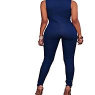 Žene Veći konfekcijski brojevi Traper Jumpsuits - Vezanje straga, Jednobojni V izrez