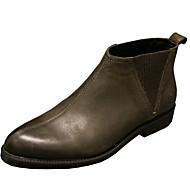 baratos Sapatos Masculinos-Homens Coturnos Pele Napa / Pele Primavera / Outono Conforto Botas Botas Curtas / Ankle Preto / Khaki