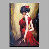 cheap Oil Paintings-Oil Painting Hand Painted - Abstract People Classic Vintage Canvas