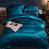 billiga Påslakan-Påslakan Sets Enfärgad Polyester / Bomull Blandning Färgat garn 4 delar