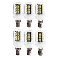 billige Kornpærer med LED-SENCART 6pcs 5W 800 - 1200lm E14 / GU10 LED-kornpærer T 42 LED perler SMD 5730 Dekorativ Varm hvit 12V