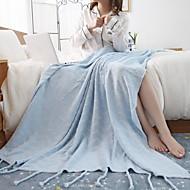 billiga Filtar och plädar-Stickat, Färgat garn Enfärgad Cotton filtar