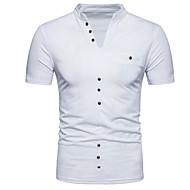 Ανδρικά T-shirt Βασικό - Βαμβάκι Μονόχρωμο Λαιμόκοψη V / Όρθιος Γιακάς Λεπτό Μαύρο L / Κοντομάνικο / Καλοκαίρι