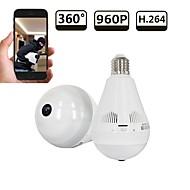 billige Innendørs IP Nettverkskameraer-strongshine® hd 960p 1.3mp 360 graders panoramisk cctv trådløs wifi ip kamera med fisheye linse nattsyn