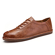 cheap Men's Oxfords-Men's Shoes Cowhide Nappa Leather Spring Moccasin Comfort Oxfords Walking Shoes for Casual Outdoor Black Brown Khaki