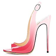 cheap Women's Sandals-Women's Shoes Patent Leather Spring / Summer Slingback Sandals Stiletto Heel Peep Toe Purple / Peach / Green / Party & Evening