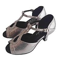 baratos Sapatilhas de Dança-Mulheres Sapatos de Dança Latina Outras Peles de Animais Salto Salto Personalizado Personalizável Sapatos de Dança Cinzento / Interior