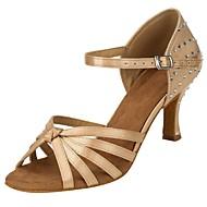 baratos Sapatilhas de Dança-Mulheres Sapatos de Dança Latina Cetim Sandália / Salto Pedrarias Salto Personalizado Personalizável Sapatos de Dança Khaki