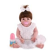 NPK DOLL Reborn-dukker Babypiger 22inch Fuld krops silicone / Silikone / Vinyl - livagtige, Naturlig hudfarve, Floppy Head Unisex Børne