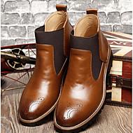 baratos Sapatos Masculinos-Homens Coturnos Couro Ecológico Outono / Inverno Conforto Botas Preto / Vinho / Castanho Claro