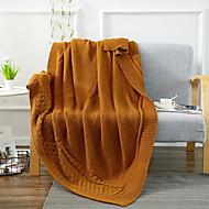 billiga Filtar och plädar-Stickat, Färgat garn Enfärgad Akrylik Fiber / Polyester / PolyaMedium filtar