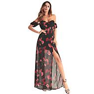 Mujer Fiesta Noche Algodón Gasa Vestido - Malla Separado Estampado, Floral Maxi Hombros Caídos