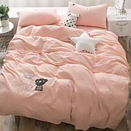 tanie Solid Duvet Okładki-Zestawy kołdra okładka Jendolity kolor 4 elementy Poly / Cotton 100% bawełna Drukowane Poly / Cotton 100% bawełna 1szt kołdrę 2szt Shams