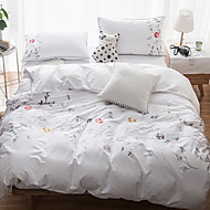 cheap Solid Duvet Covers-Duvet Cover Sets Solid Embellished&Embroidered 4 Piece Poly/Cotton 100% Cotton Printed Poly/Cotton 100% Cotton 1pc Duvet Cover 2pcs Shams