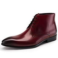 baratos Sapatos Masculinos-Homens Pele Napa / Pele Outono / Inverno Conforto / Coturnos Botas Botas Curtas / Ankle Preto / Vinho